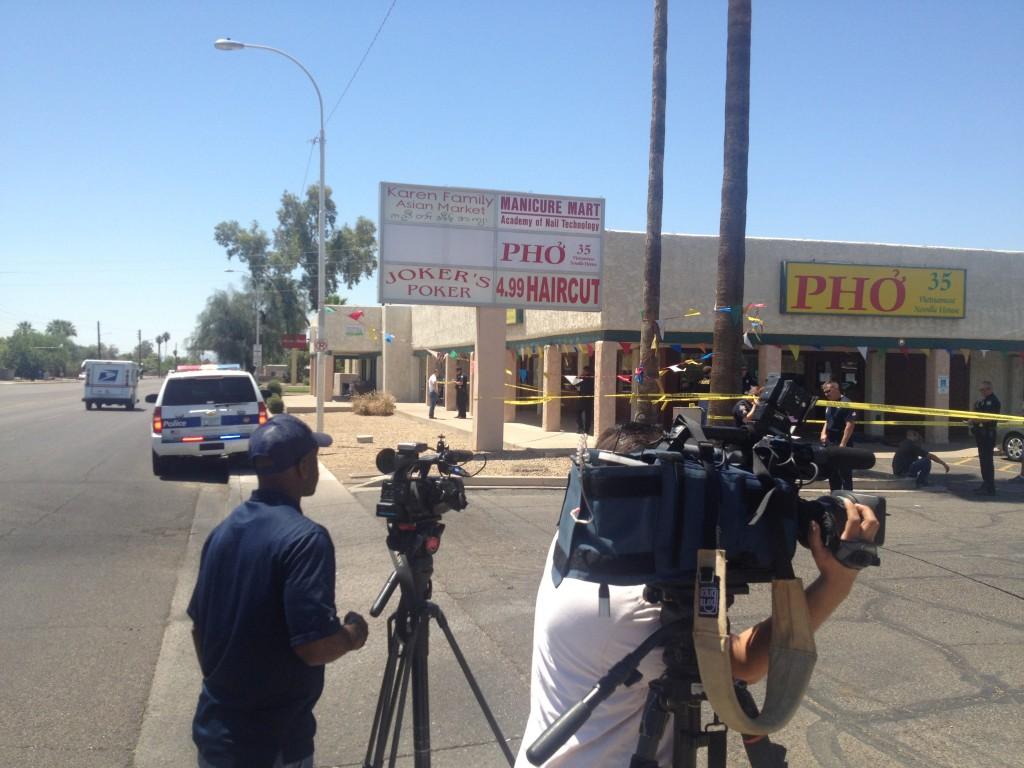 The murder scene outside of Pho 35