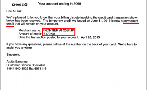 Victory over Tyrants: Confirmation that my credit card sided with me against Frontier Airlines